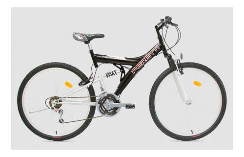 Mountain bike Peretti MTB doble suspensión R26 21v frenos v-brakes color negro
