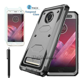 For Motorola Moto Z2 Play - Gray W/2x Tempered Glass - -0273