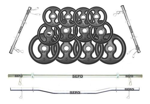 Imagem 1 de 2 de Kit De Anilhas 40kg + 02 Barras 40cm + Barra 1,20m + Barra W