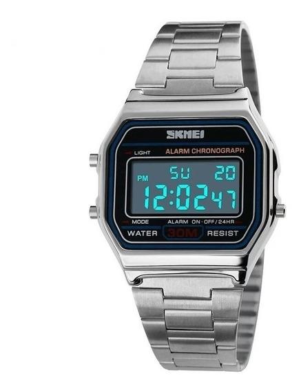 Relógio Feminino Skmei Digital Prata Pulseira Aço + Frete Grátis