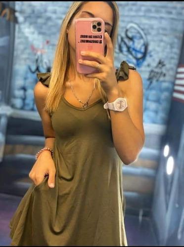 Vestido De Mujer Corto Con Bolsillo Volados Solero Juvenil