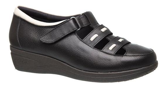 Sapato Feminino Anabela 188 Em Couro Preto/neve Doctor Shoes