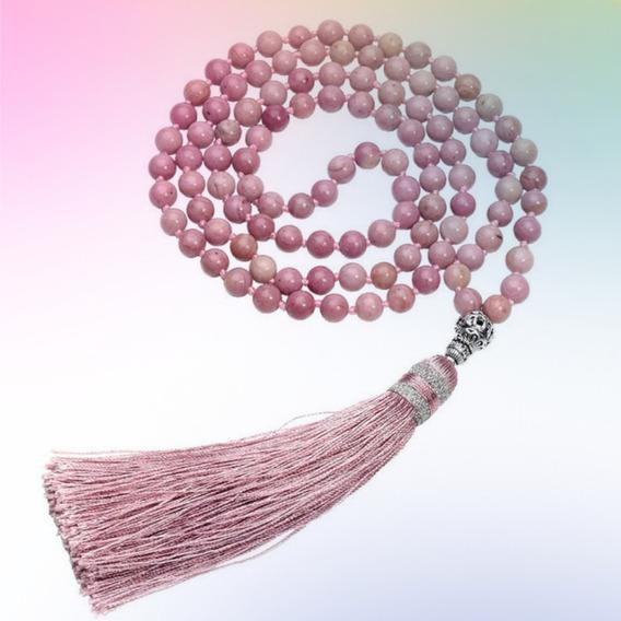Japamala 108 Contas Pedras Naturais Rosa Pedra Do Coração