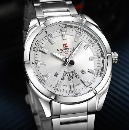 Relógio Masculino Prata Social Esportivo Naviforce 9038