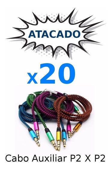Kit 20 Cabo Auxiliar P2 X P2 Reforcado Celular Som Atacado