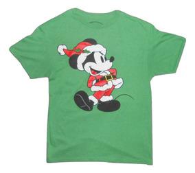 Disney Playera Verde Mickey Mouse Navideño Talla M Hombre