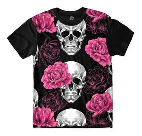 Camisa Camiseta Blusa Caveira Rosas Rock Flores Skull
