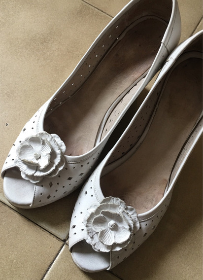 Zapatos Cuero Taco Chino Con Aplique Flor