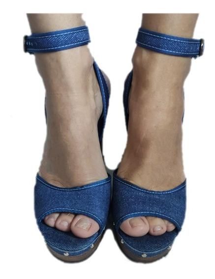 Sandalia Feminina Azul Jeans Tama 37