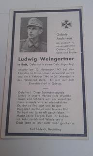 Cartão Falecimento Soldado Alemão Ww2 Ludwig Weingartner