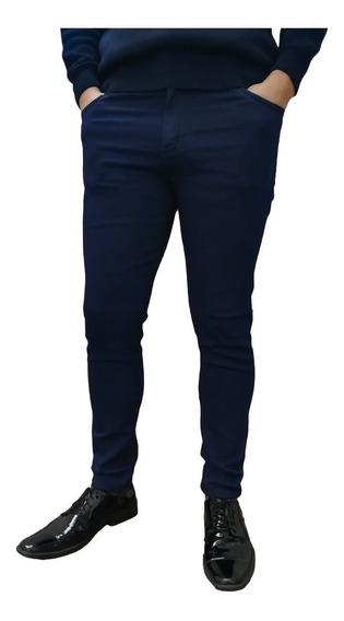 Jean Chupin Azul Elegante Hombre Elastizado Premium