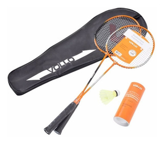 Kit Badminton Vollo Raqueteira + 2 Raquetes + 3 Petecas