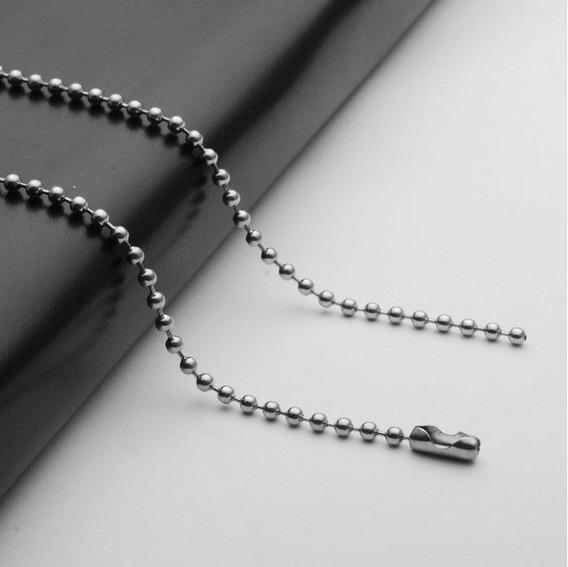 Corrente Bolinha Aço Inoxidável 60,0cm X 2,0mm Kit C/ 3 Unid