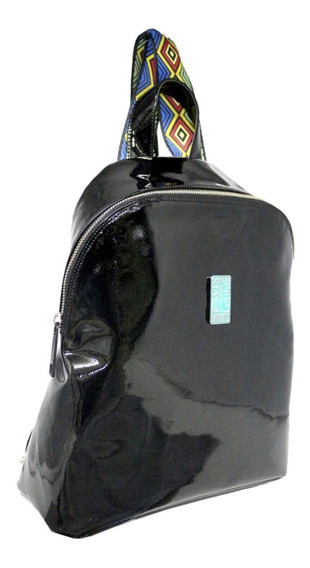 Mochila Cartera Urbana Negro Charol Leblu C844