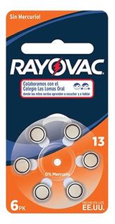 6 Pilas Para Audifono Rayovac Numero 13 Pr48 1,4v Cinc Aire