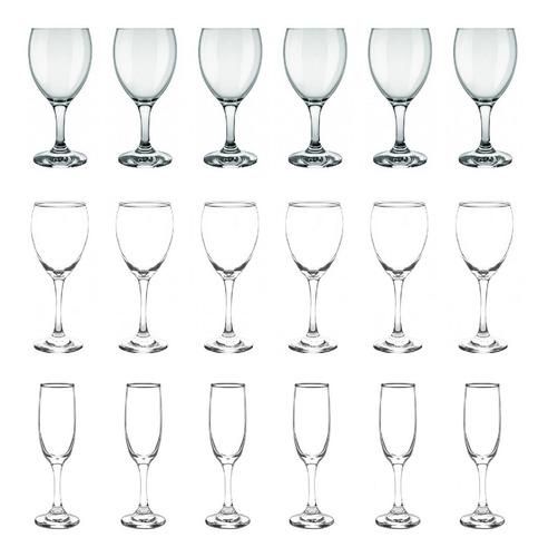 Set Juego 18 Copas Agua Vino Champagne Aragon Versalles