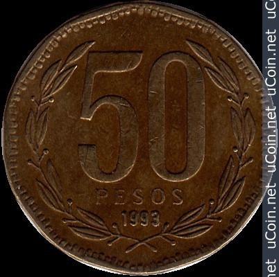 Chile Moneda De 50 Pesos Año 1993