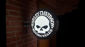 Placa Dupla Face Harley Caveira Skull Lereiro Luminoso Led