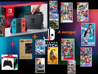 Nintendo Switch Combo Vidrio + Juego + Control