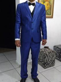 Terno Slin Azul Royal Com Colete + Gravata Leve Brilho