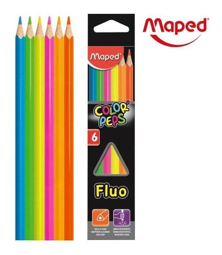 Lapices De Colores Fluo Neon X 6 Maped Educando
