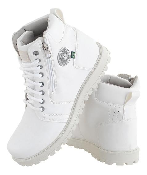 Coturno Masculino Branco Com Ziper Modelo Novo Crshoes 9013