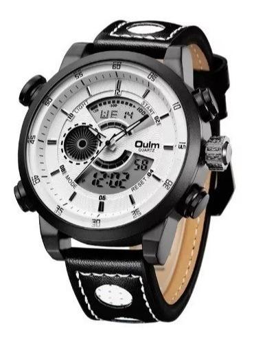 Relógio D Pulso Masculino Branco Oulm Hp3558 Duplo Movimento