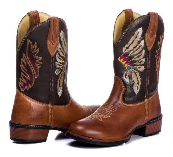 Bota Masculina Cano Longo Texana Country Bico Redondo Indian