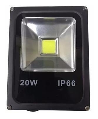 Refletor Led 20w Branco Frio Slim Preto Ip66