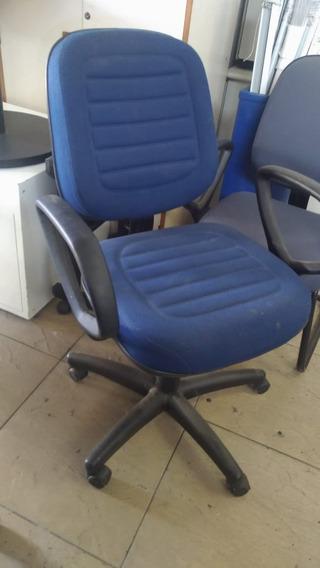 Cadeira Escritório Azul Encosto Alto