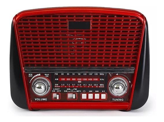 Caixinha Som Bluetooth Radio Retro Fm Am Sw 3w Antena + Alça