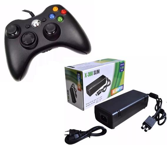 Controle Com Fio Xbox 360 Pc + Fonte Xbox Slim Bivolt