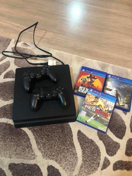 Ps4 Slim 500gb + 2 Controles Originais + 3 Jogos