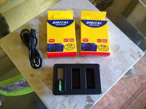 Kit 2 Baterias E Carregador Digital Câmera Canon T6s T6i M3