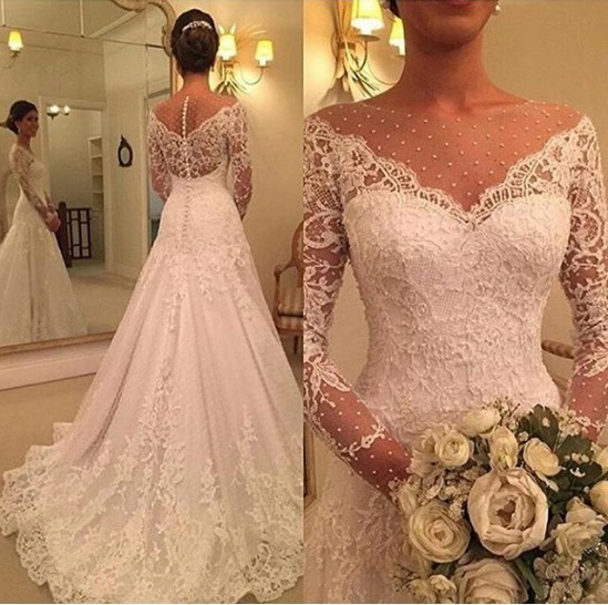 Vestidos De Noiva Lindo Pérolas Lace Manga Comprida X28