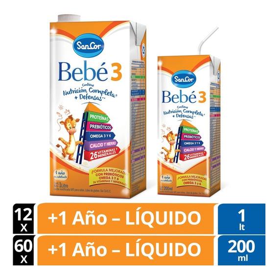 Leche Sancor Bebe 3 Combo 200ml X60u. + 1lt X 12u