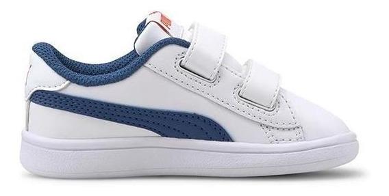 Zapatillas Puma Smash V2 L Infantil Moda Blanco-azul