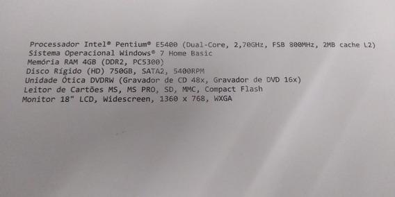 Computador Positivo Pentium E5400 2,7 Ghz 4gb / 750gb Hd