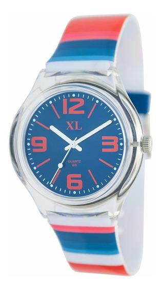 Reloj Xl Extra Large Moda Plástico Dama Xl465 Azul/rojo