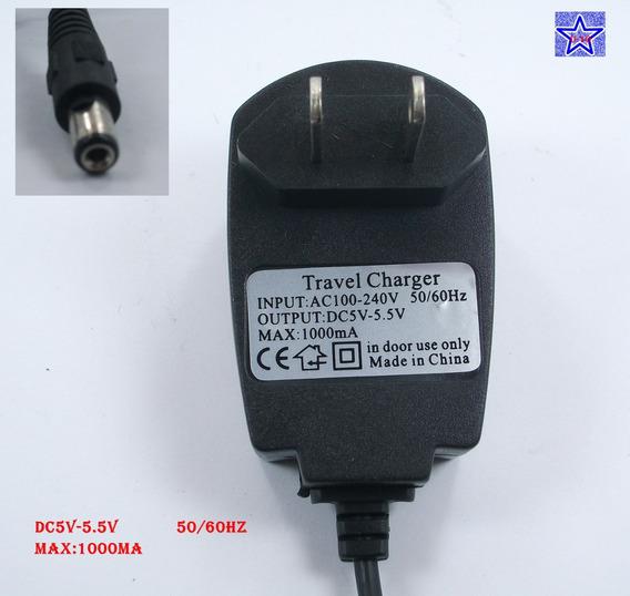 Carregador De Energia Fonte Dc 5v 5.5v Max1000ma Ac100-240v