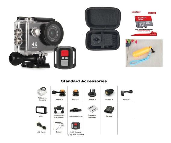 Action Câmera Estilo Gopro H9r Fullhd 4k Wifi Com Controle, Case, Bastão Boia E Cartão 32gb Original