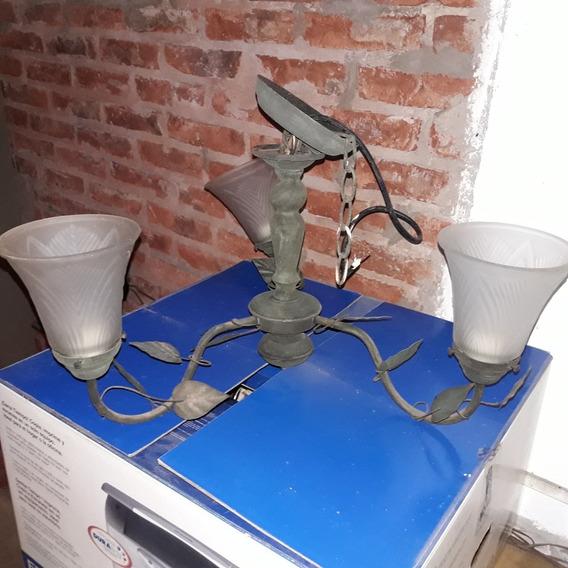 Araña Antigua De Bronce Y Apliques De Iluminacion.