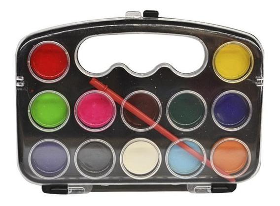 Acuarelas Con Tapa Acrílica X 12 Colores Con Pincel Katana