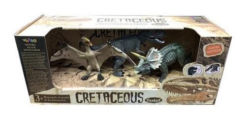 Cretaceous Set De Dinosaurios Articulados 3 Pzas Jlt 99552