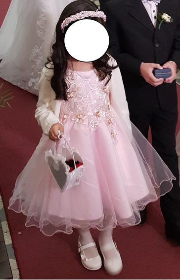 Vestido Elegante De Fiesta Para Niña Con Flores Bordadas