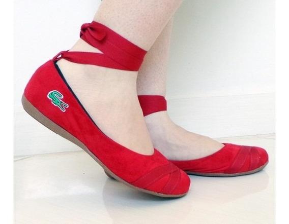 Sapatilha Feminina Bailarina Lascoste Em Camurça Vermelho