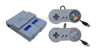 Case Snes Super Nintendo Raspberry Pi3 Em Abs + 2 Controles