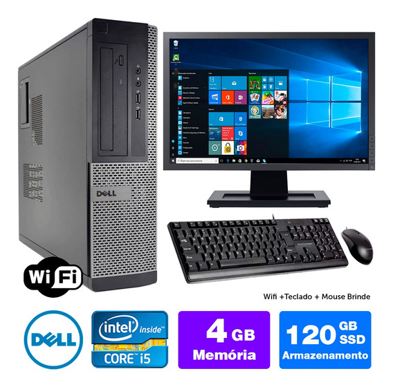 Computador Usado Dell Optiplex Int I5 2g 4gb Ssd120 Mon17w