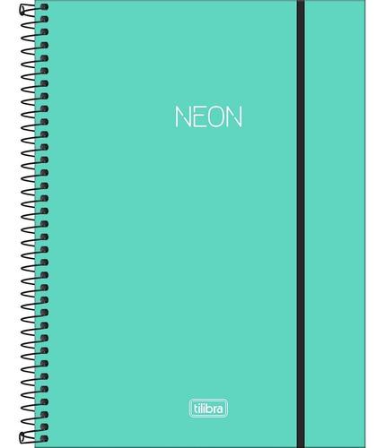 Caderno Espiral Univ. 10 Matérias Neon Turquesa 160 Folhas