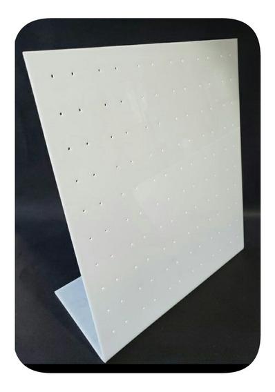Porta Brinco 120 Furos 26,5x23cm Expositor Branco Acrílico